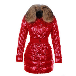 Moncler Astere Quiltet Womens Coat Med Raccoon Fur Collar Red DG